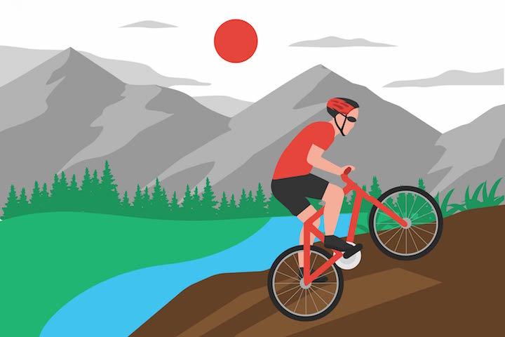 mountain biking uphill