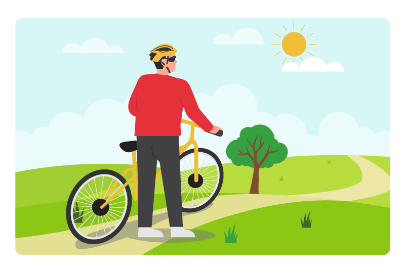 graphic of holding a bike out on a park