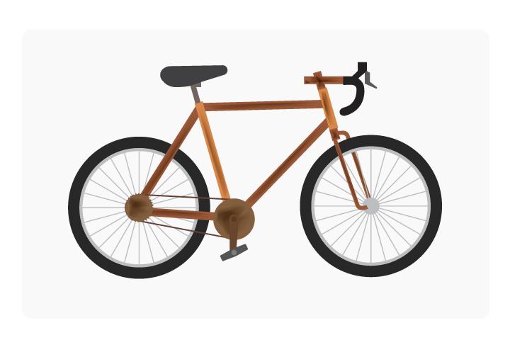 Bike frame covered in rust