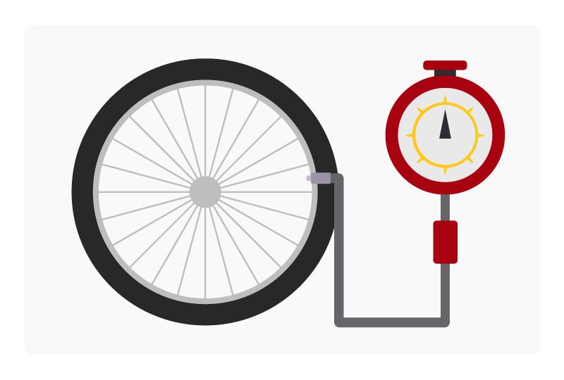 measuring bike tire pressure