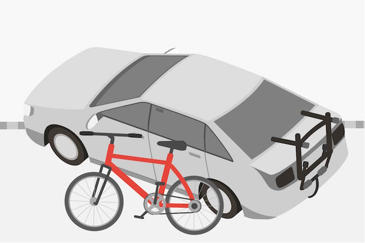 bicycle rack on back of a car